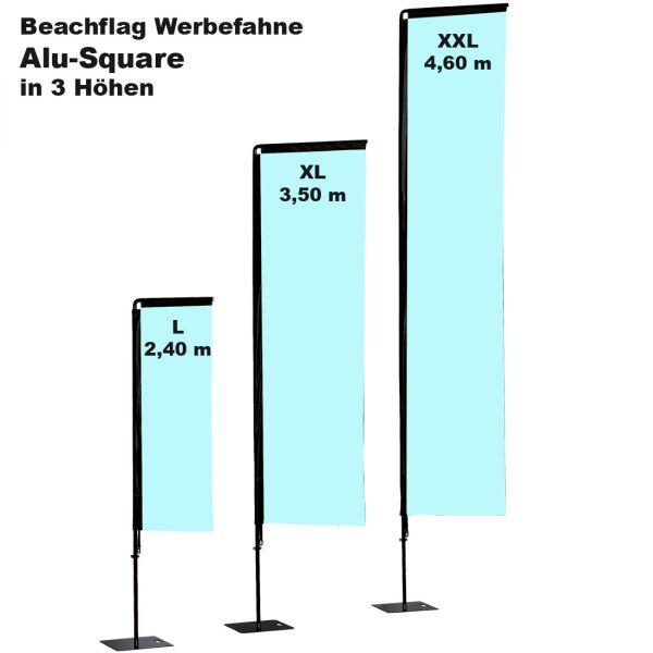 Beachflag Alu Square mit Fahnendruck und Transporttasche in drei Größe
