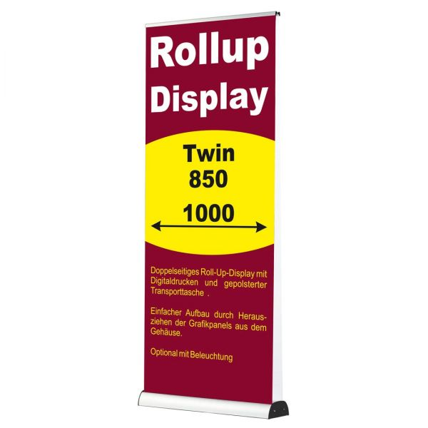 Rollup Banner Display doppelseitig Twin  in 850 und 1000 mm