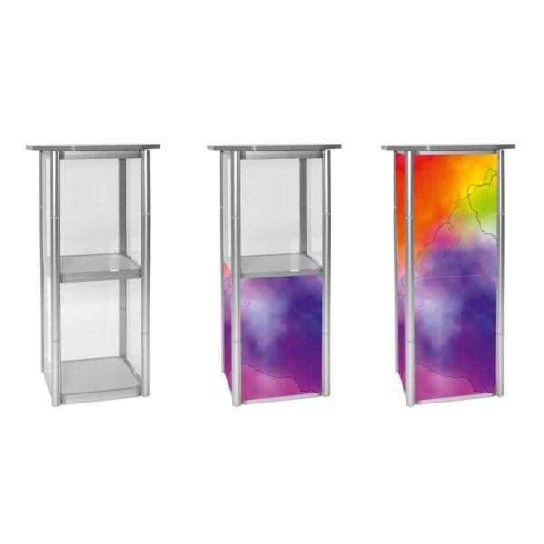 Thekenvitrine Twist Quadrat mit transparenten und bedruckten Füllungen