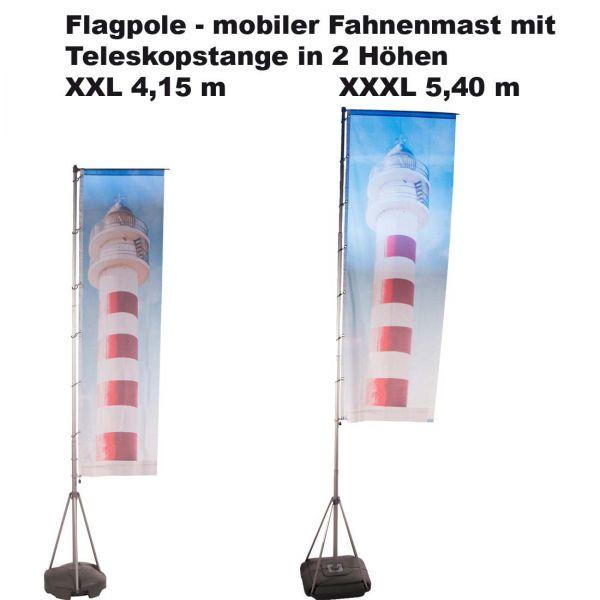 Flagpole mobiler Fahnenmast mit Fahnendruck und Transporttaschen in 2 Größen