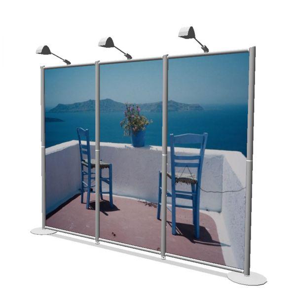 OCTAquick mobile Messewand 3 m mit Stoffwandfüllung