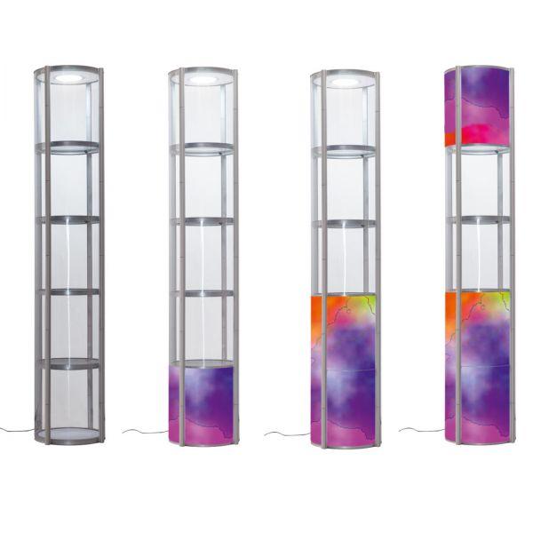 Faltvitrinen 2,5 m Höhe mit LED-Beleuchtung, transparente und bedruckten Füllungen