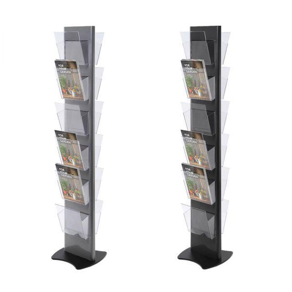 Torre Prospektständer in Grau und Schwarz für 6 bis 12 DIN A4 Prospekte