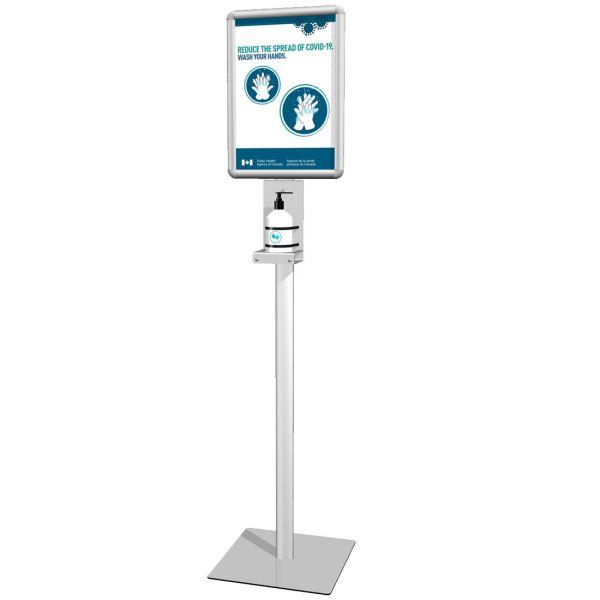Händedesinfektion Station mit Hinweisschild