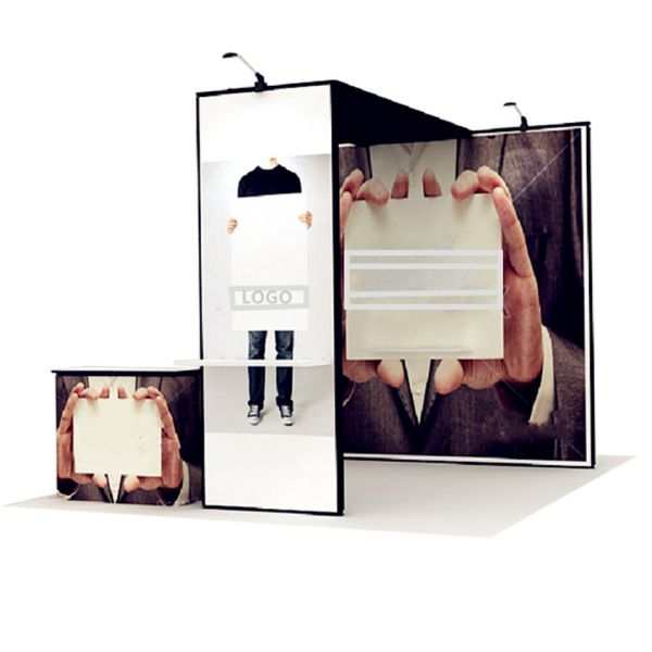 Luban Display mobiler Messestand als Kopfstand 3 x 3 m mit Theke