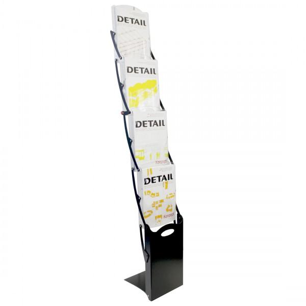 Faltprospektständer RealZipBlack in mattem Schwarz für 4 DIN A4 Prospekte