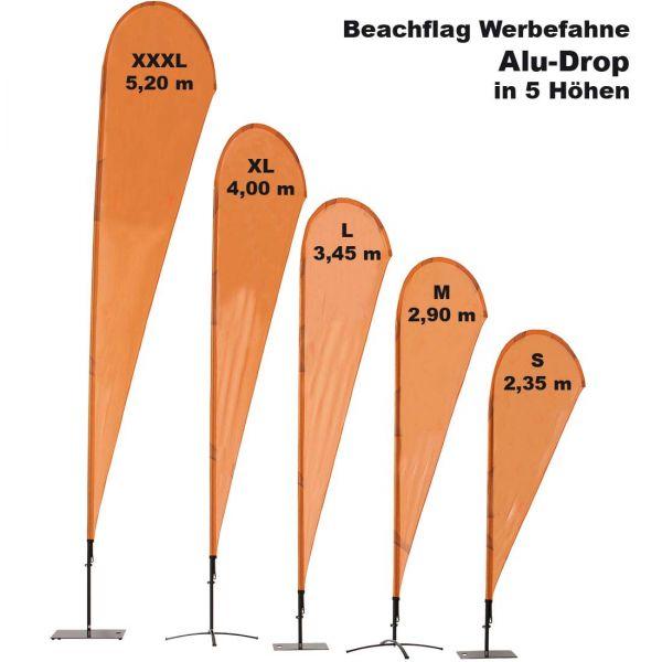 Beachflag Alu Drop mit Fahnendruck und Transporttasche in 5 Größen