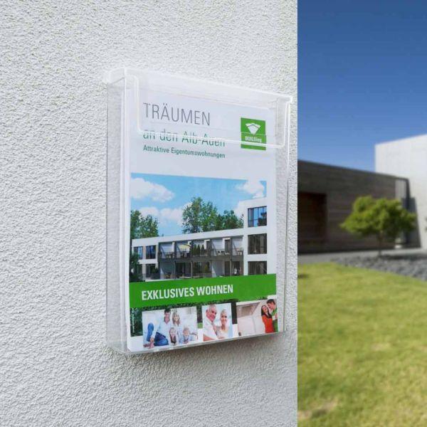 Wandprospekthalter Infobox spritzwassergeschützt für DIN A4 Prospekte