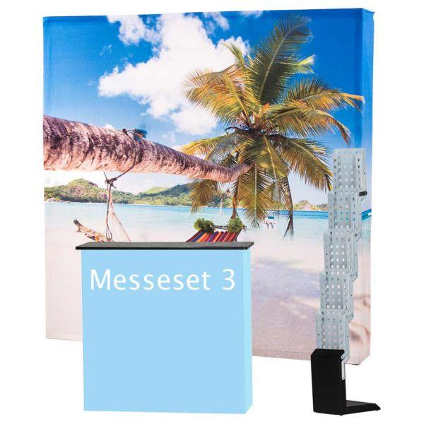 Messeset 3 mit Textildisplay, Textiltheke und Faltprospektständer