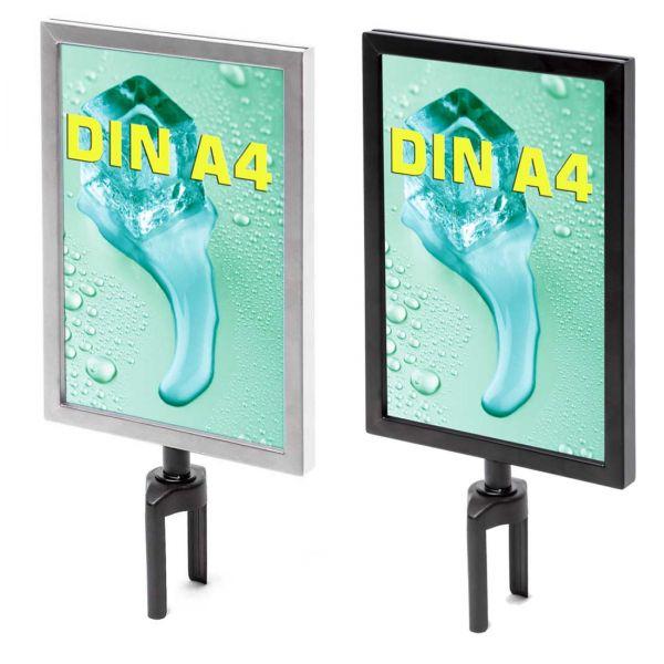 Infoschilder DIN A4 beidseitig schwarz oder chrome für Gurtpfosten Standard