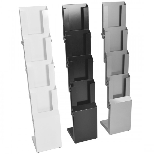 Faltprospektständer StairFour in Silber, Weiss oder Schwarz