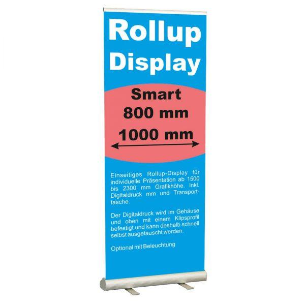 Rollup Banner Display Smart mit einfach wechselbarer Grafik in 800 und 1000 mm Breite