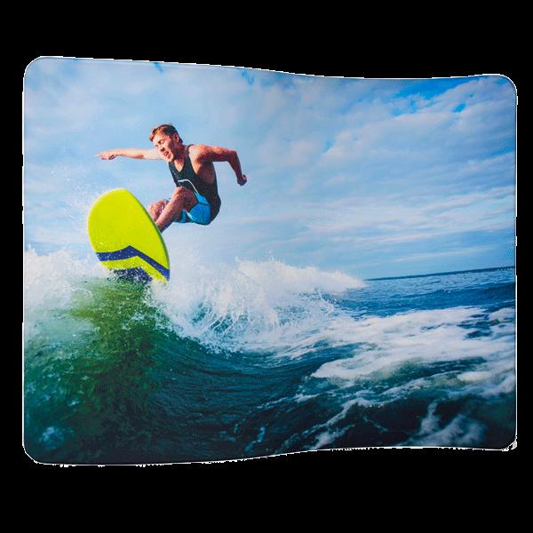 Textildisplay Zipper-Wall Welle mit einseitiger und beidseitiger Stoffgrafik