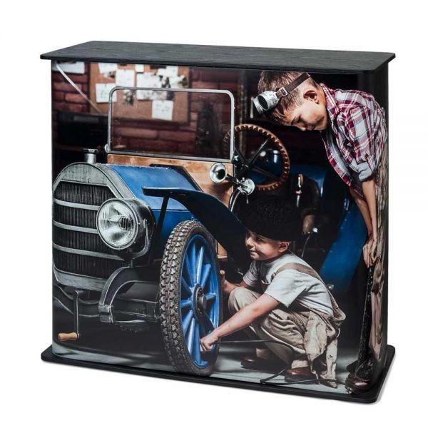 Mobile Messetheke Counter Professional Square inkl. Digitaldruck und Transporttaschen