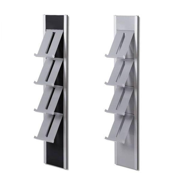 Wandprospekthalter Slimline in Silber und Schwarz