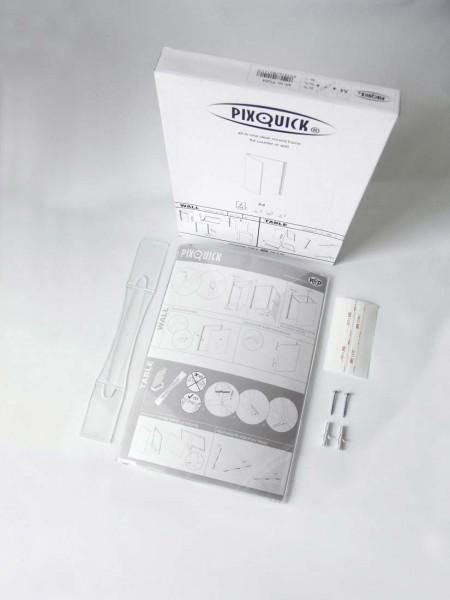 Pixquick Postertasche DIN A4 mit Zubehör (selbstklebend, zum Anschrauben und Stellen)