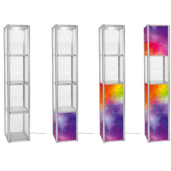 Faltvitrine Twist Quadrat 2 m Höhe mit LED-Beleuchtung und Transport-Trolley