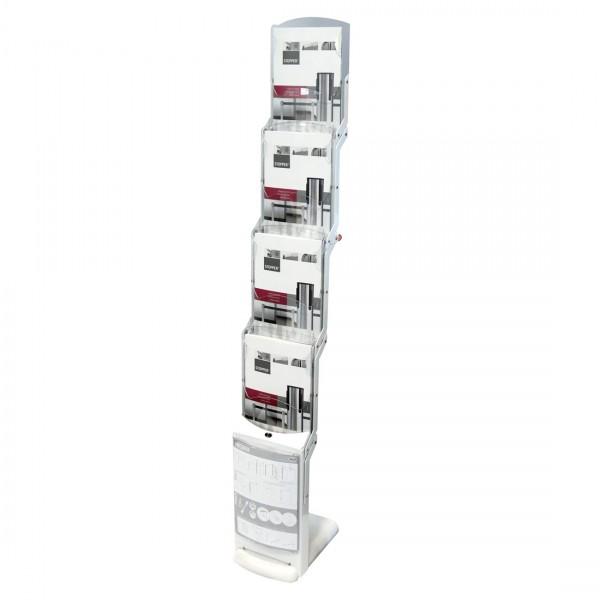 Faltprospektständer RealZipBianco in Weiß mit zusätzlicher Postertasche für DIN A4 Formate