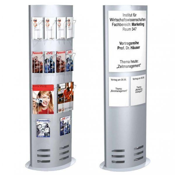 Infosäule TecArt klein breit als Infodisplay und Prospektständer