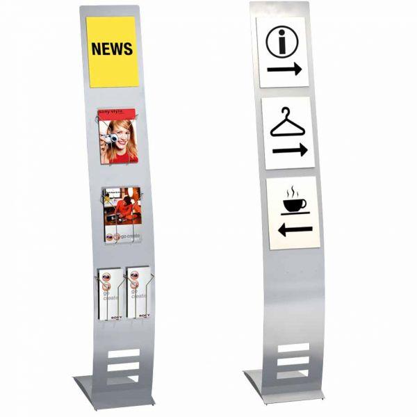 Infoständer TecArt schmal als Infodisplay und Prospektständer