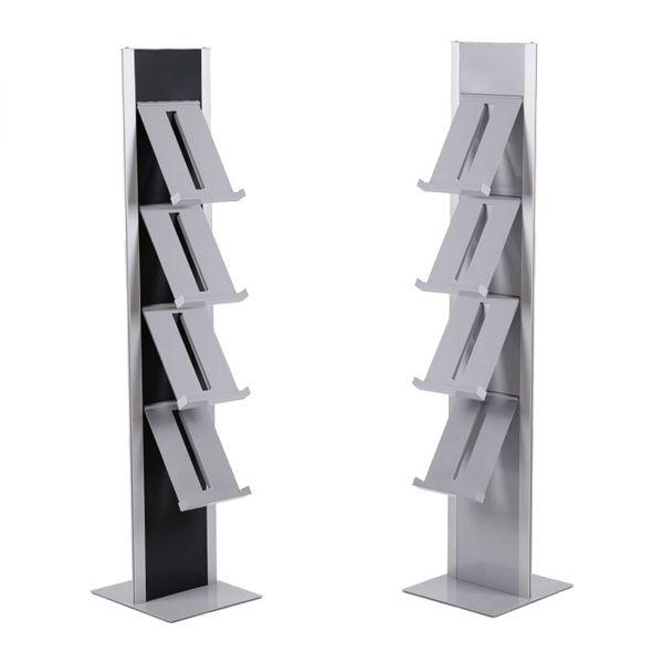Slimline Prospektständer in Silber oder Schwarz mit 4 oder 8 Prospektablagen
