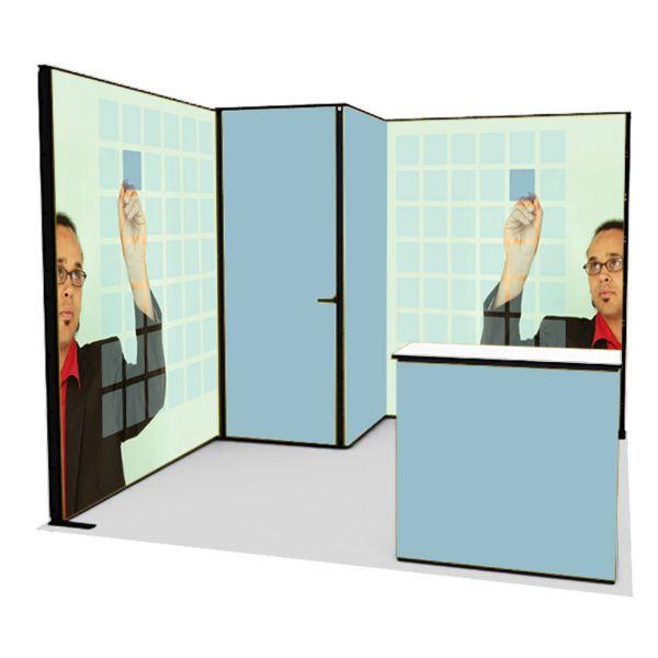 Luban Display mobiler Messestand als Eckstand 3 x 3 m mit verschließbarem Lagerraum und Theke