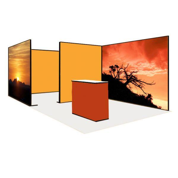 Luban Display mobiler Messestand als Eckstand 3 x 6 m mit Theke und offener Besprechungskabine