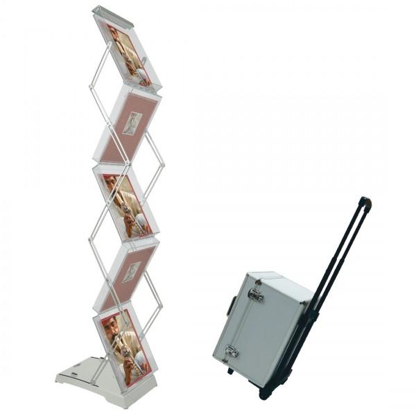 Faltbarer Prospektständer Brochure Stand Double Box mit Transporttrolley
