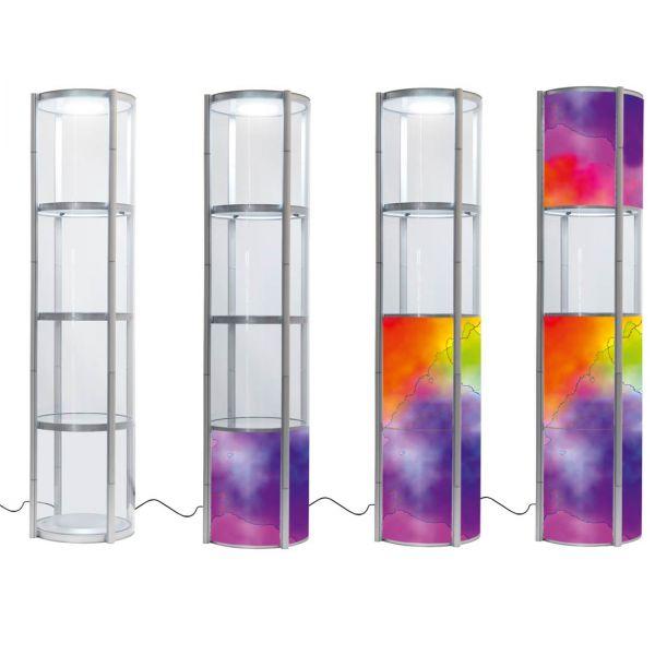 Runde Faltvitrinen 2 m Höhe mit LED Beleuchtung mit verschiedenen Optionen für Füllungen