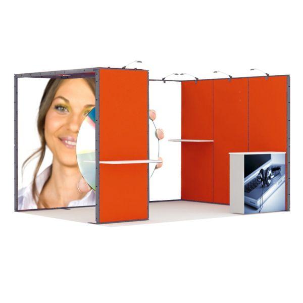 Luban Display mobiler Messestand als Eckstand 3 x 4 m mit Deckenpanel und Theke