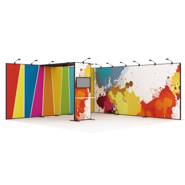 Luban Display mobiler Messestand als Eckstand 6 x 6 m mit Deckenpanel